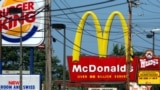 FILE - This Sept. 21, 2005, file photo shows a series of fast food restaurants near Saco, Maine. (AP Photo/Pat Wellenbach, File)