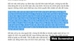 """Bản dịch của VnExpress cắt bỏ câu: """"Chủ nghĩa xã hội hủy hoại các quốc gia."""""""