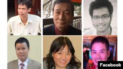 Từ phải sang: Phạm Chí Dũng, Nguyễn Tường Thụy, Lê Hữu Minh Tuấn, Lê Anh Hùng, Phạm Đoan Trang, Hồ Sỹ Quyết. Photo Tập hợp từ Facebook.