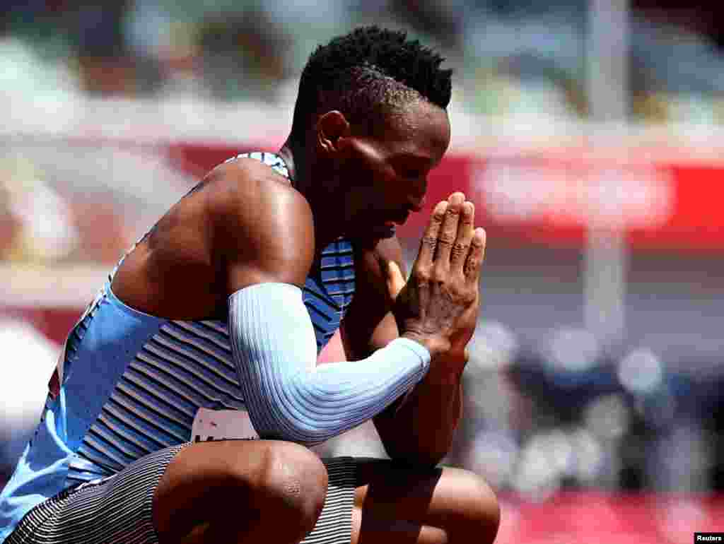 Isaac Makwala of Botswana reacts after winning Heat 1 - Men's 400m - Round 1 REUTERS/Lucy Nicholson