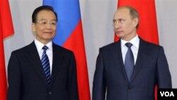 PM Rusia Vladimir Putin dan PM Tiongkok Wen Jiabao berdiri berdampingan saat upacara penandatanganan dokumen perjanjian melestarikan harimau di Istana Konstantin, St. Petersburg.