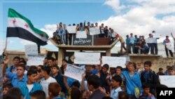 Biểu tình chống Tổng thống Syria Bashar al-Assad tại Hula, gần thành phố Homs, ngày 24/10/2011