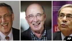 Οι τρεις νομπελίστες οικονομίας από αριστερά: Πήτερ Ντάιμοντ, Ντέιλ Μόρτενσεν και Κρίστοφερ Πισσαρίδης