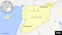 Peta lokasi Hassakeh di Suriah.