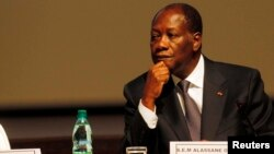 Ivory Coast President Alassane Ouattara attends the sixth joint AU/ECA Conference of African Ministers of Finance and Economic Development in Abidjan, Ivory Coast, March 2013.