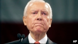 "FILE - Sen. Orrin Hatch, R-Utah, speaks during the Utah Republican Party 2016 convention, in Salt Lake City, April 23, 2016. ""It's going to be extremely contentious,"" Hatch told VOA. ""Anytime you get into an immigration battle, it's difficult no matter who is president."""
