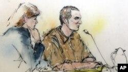 7일 법정에 나온 애리조나 주 총기난사 사건 용의자 제러드 리 러프너(오른쪽)와 변호사 쥬디 클라크의 스케치. 재판 중 사진 촬영이 허용되지 않았다.