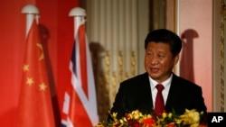 中国国家主席习近平在伦敦出席全英孔子学院和孔子课堂年会开幕式。(2015年10月22日)