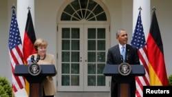 Prezida wa Amerika, Barack Obama na Chanceliere w'Ubudagi, Angela Merkel i Washington.