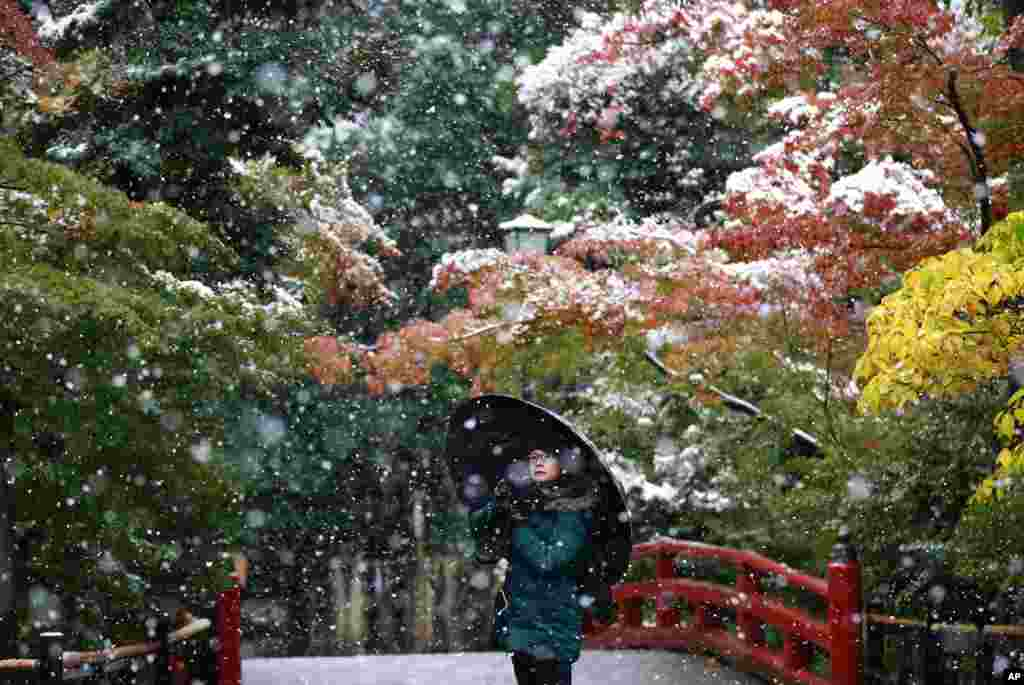 A visitor takes a photo in the snow at the Tsurugaoka Hachimangu Shrine in Kamakura, near Tokyo, Japan.