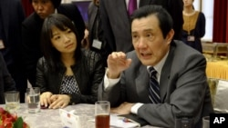 Tổng thống Đài Loan Mã Anh Cửu nói về vụ tranh chấp biển đảo giữa Trung Quốc và Nhật Bản tại một cuộc họp báo ở Đài Bắc, ngày 31/1/2013.