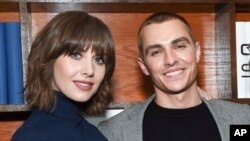 "Actress Alison Brie, left, and then- fiancé actor Dave Franco attend ""The Little Hours"" cast party at Chase Sapphire on Main on Jan. 19, 2017 in Park City, Utah."