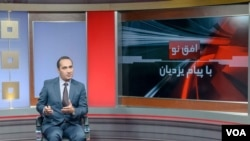 Anchor Payam Yazdian on set during Monday's show