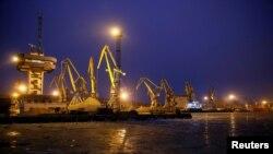 FILE - Cranes are seen in the Azov Sea port of Mariupol, Ukraine, Dec. 2, 2018.
