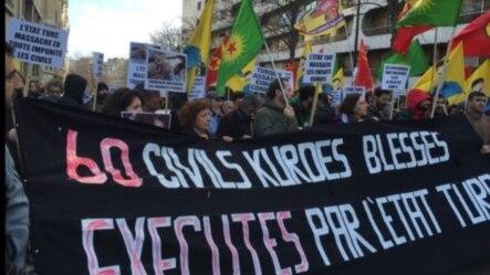 Kurdish protest in Paris