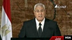 埃及臨時總統曼蘇爾星期四晚間發表電視講話。
