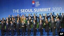 2010年11月12日首爾G20峰會各國首腦大合照資料照。