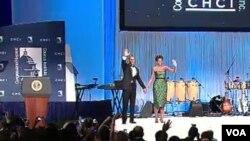 El presidente Obama y su esposa, la primera dama, Michelle Obama en la apertura de la Gala del Instituto del Caucus Hispano del Congreso en Washington.