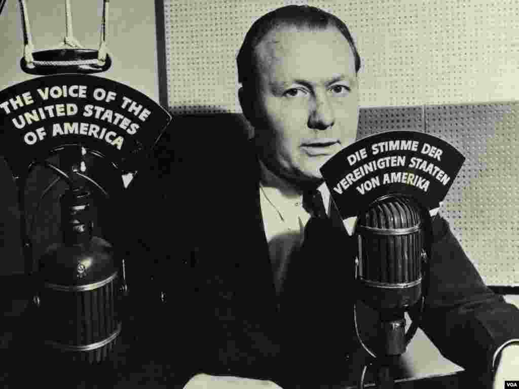 Broadcaster Robert Bauer back in 1942. VOA's first broadcasts were in German.