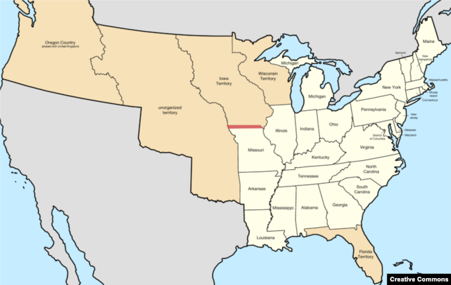 Map of U.S. states and territories in 1840.