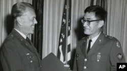 US Army Vietnam veteran Peter Young receives award in 1969 photo