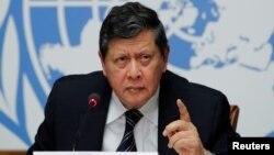 Kepala misi pencarian fakta PBB di Myanmar, Marzuki Darusman, berbicara di Jenewa, Swiss.