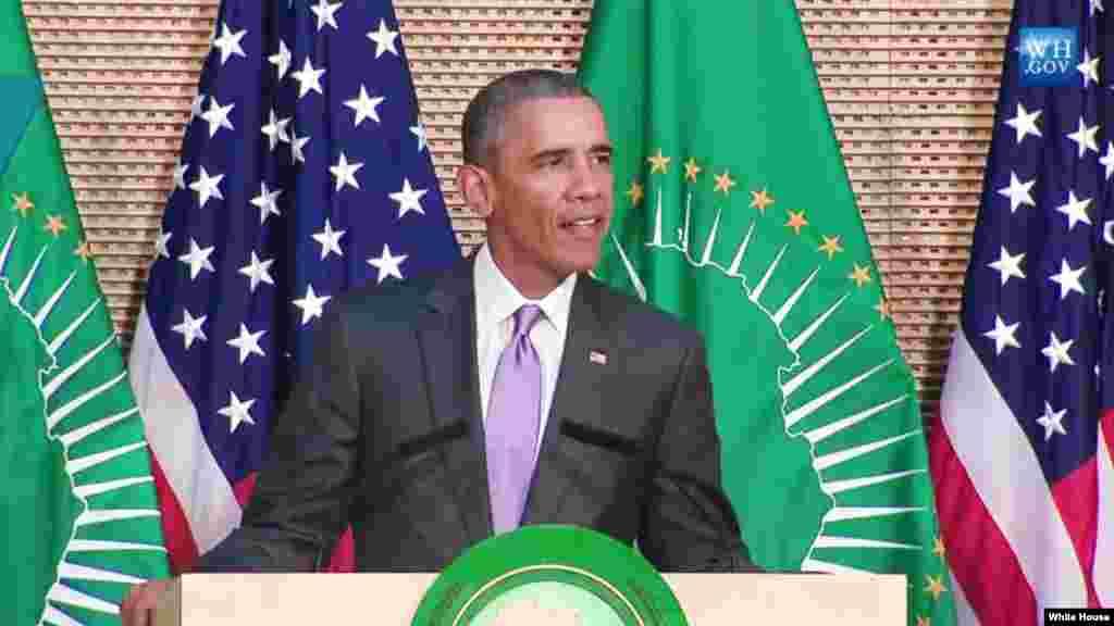 Le président américain Barack Obama donne un discours devant l'Union africaine, Addis-Abeba, 28 juillet 2015.