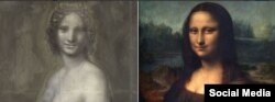 پرتره مونا لیزا موسوم به «لبخند ژوکوند» در کنار نقاشی زغالی مونا وانا (مونا لیزای برهنه)