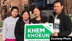 Khemarey Khoeun is pictured with her family during the election campaign. (Courtesy of Khoeun)