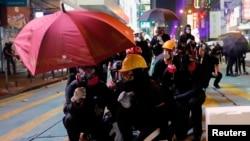 Manifestantes anti-governo em Hong Kong. 20 Outubro, 2019.