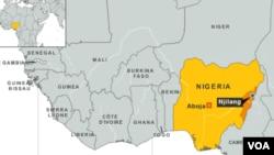 Peta wilayah Adamawa, Nigeria.