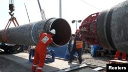 """На фото: будівництво газогону """"Північний потік-2"""" на території Росії, 2019-й рік."""