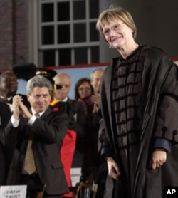 Harvard President Drew Gilpin Faust pauses during applause after being inaugurated as the first woman to lead Harvard. ( Friday, Oct. 12, 2007)
