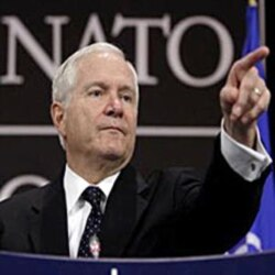Secretary of Defense Gates takes questions after his speech on NATO Friday