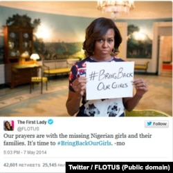FILE - First Lady Michelle Obama's post on Twitter on abducted Nigerian schoolgirls.