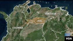 Mapa de Venezuela y Colombia. Foto: video grab - VOA.