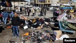 Mesto napada bombaša samoubice na pijaci u centru Bagdada, 21. januara 2021. (Foto: Rojters, Thaier al-Sudani)