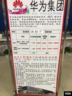 深圳三和人才市场摆放的华为招聘告示列出各项录用条件及薪酬待遇。(美国之音艾伦拍摄)