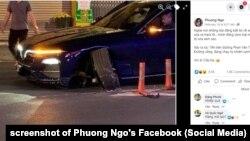 """Một xe VinFast bị """"gãy càng"""" ở quận Gò Vấp, Tp.HCM, 16/2/2021, theo Facebooker Phuong Ngo"""