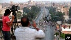 Journalists work in Egypt last year.