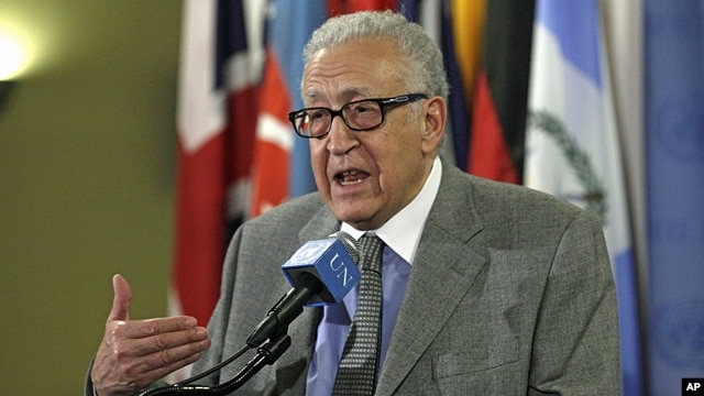 Lakhdar Brahimi, Joint Special Representative of the United Nations and the League of Arab States for Syria, answers media questions after consultations at U.N. headquarters, Nov. 29, 2012.