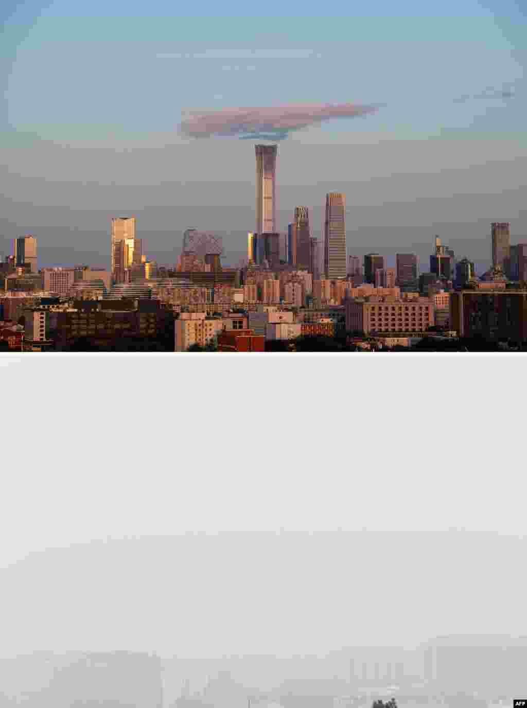 上图:2018年9月6日在北京景山公园拍摄的北京中央商务区。下图:在空气污染严重的2018年10月15日拍摄的同一场景,只在底部能依稀看到楼影。