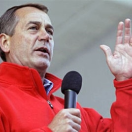 U.S. House Republican Leader John Boehner speaks during a rally in Zanesville, Ohio, 30 Oct 2010