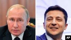 블라디미르 푸틴 러시아 대통령과 볼로디미르 젤렌스키 우크라이나 대통령.