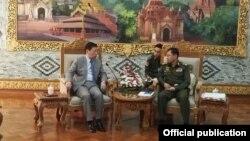 ုျမန္မာႏိုင္ငံဆုိင္ရာ တ႐ုတ္သံအမတ္ႀကီး Hong Liang က ဒုတိယ တပ္မေတာ္ကာကြယ္ေရး ဦးစီးခ်ဳပ္ ဒုတိယဗိုလ္ခ်ဳပ္မွဴးႀကီး စိုး၀င္းနဲ႔ ေတြ႔ဆံု(ဓါတ္ပံု-တ႐ုတ္သံ႐ံုး)