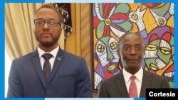 À esquerda, António Luciano com o vice-presidente Bornito de Sousa no Palácio Presidencial em janeiro de 2020