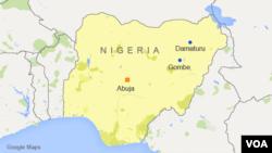 Peta wilayah Damaturu dan Gombe, Nigeria.
