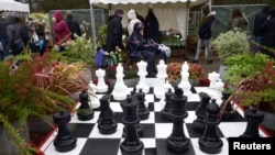 Chess set pieces are displayed along with flowers on a stand at the RHS Cardiff Flower Show, Cardiff, Wales, April 15, 2018.
