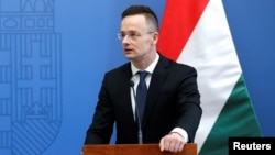FILE - Hungarian Foreign Minister Peter Szijjarto is pictured at a news conference in Budapest, Feb. 22, 2018.