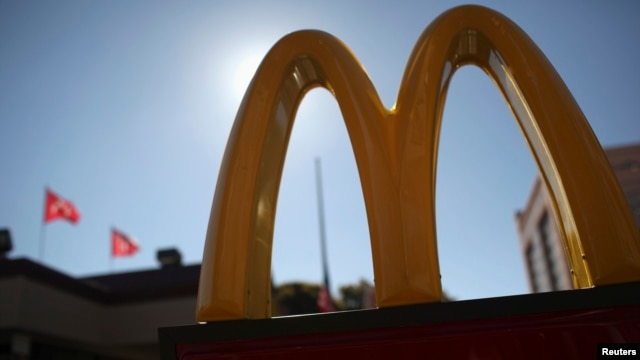 McDonald's logo outside restaurant in Fillmore District of San Francisco, California, Jan. 30, 2013.
